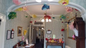 Tissue paper flower decorations for the Goosnargh and Whittingham Festival