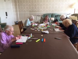 Bushell residents making easter crafts