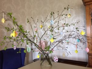 Bushell house residents making easter crafts